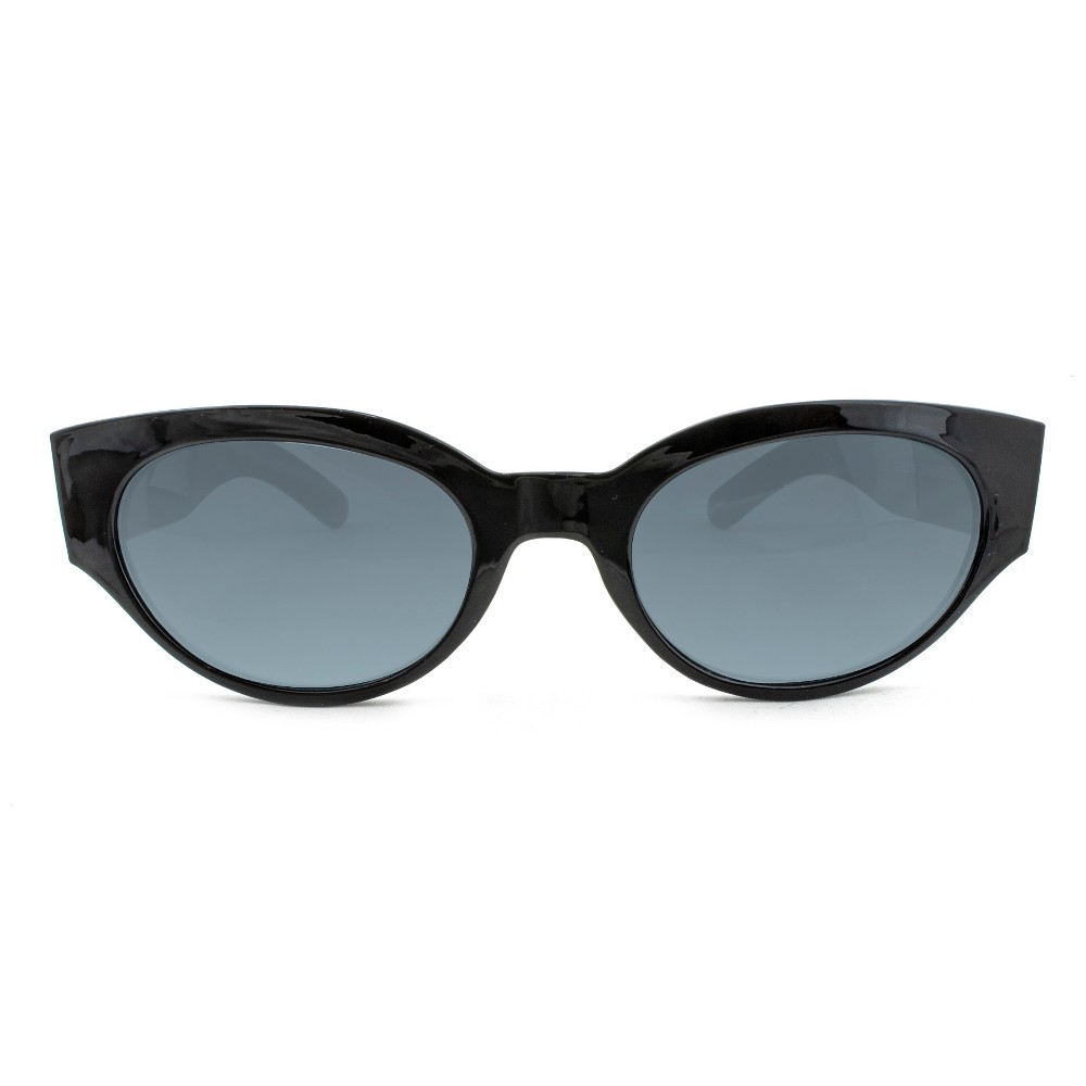 Image of Women's Oval Sunglasses With Solid Smoke Lens - A New Day Shiny Black, Size: Small, Black/Grey