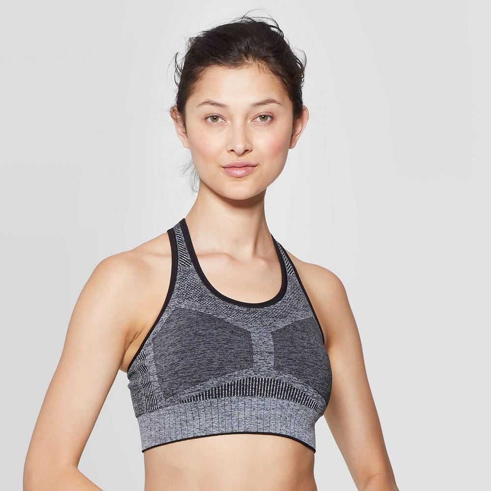 Image of Umbro Women's Colorblock Seamless Bra - Gray M, Size: Medium