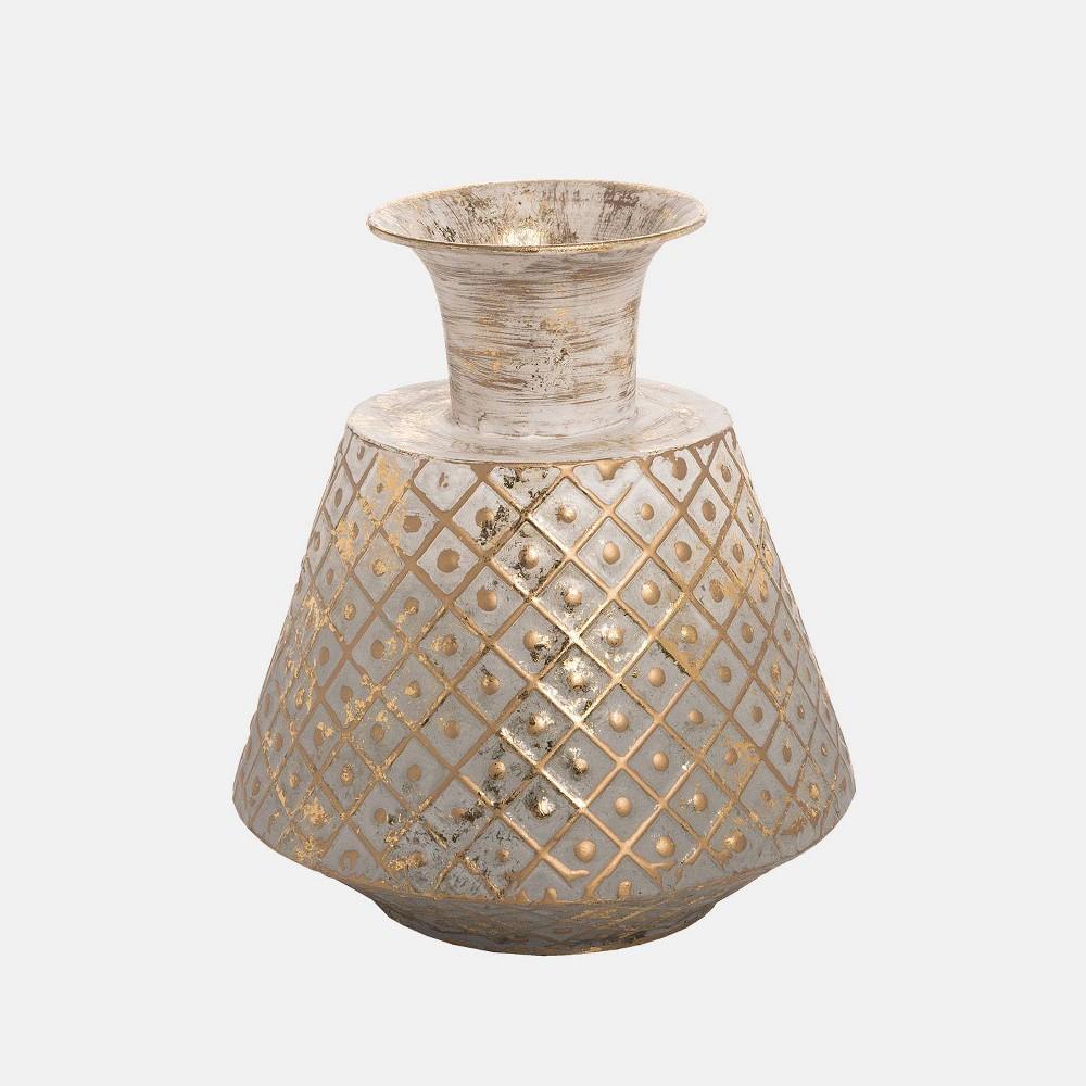 Image of 10 Metal Trellis Vase Wide Gold - Foreside Home & Garden