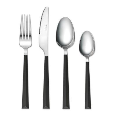 Tomodachi 16pc Stainless Steel Dali Silverware Set Black/Silver