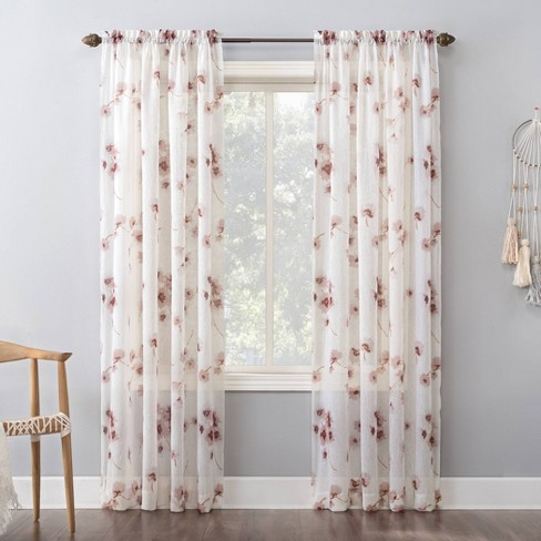 Carolyn Floral Print Crushed Sheer Voile Rod Pocket Curtain Panel - No. 918 - image 1 of 4