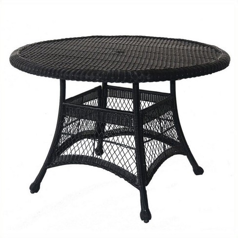 """Steel Wicker 44"""""""" Round Dining Table in Espresso Black-Pemberly Row - image 1 of 1"""