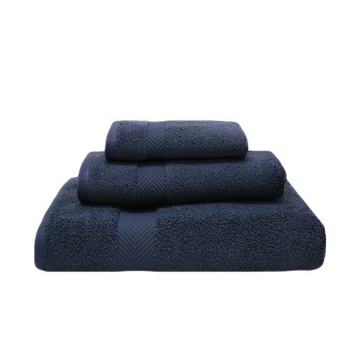 Contemporary Quick-Drying Zero-Twist Cotton 3-Piece Towel Set - Blue Nile Mills