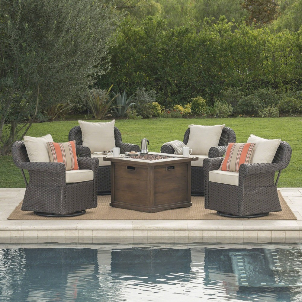 Venti 5pc Wicker Swivel Club Chairs and Fire Pit - Dark Brown/Beige - Christopher Knight Home