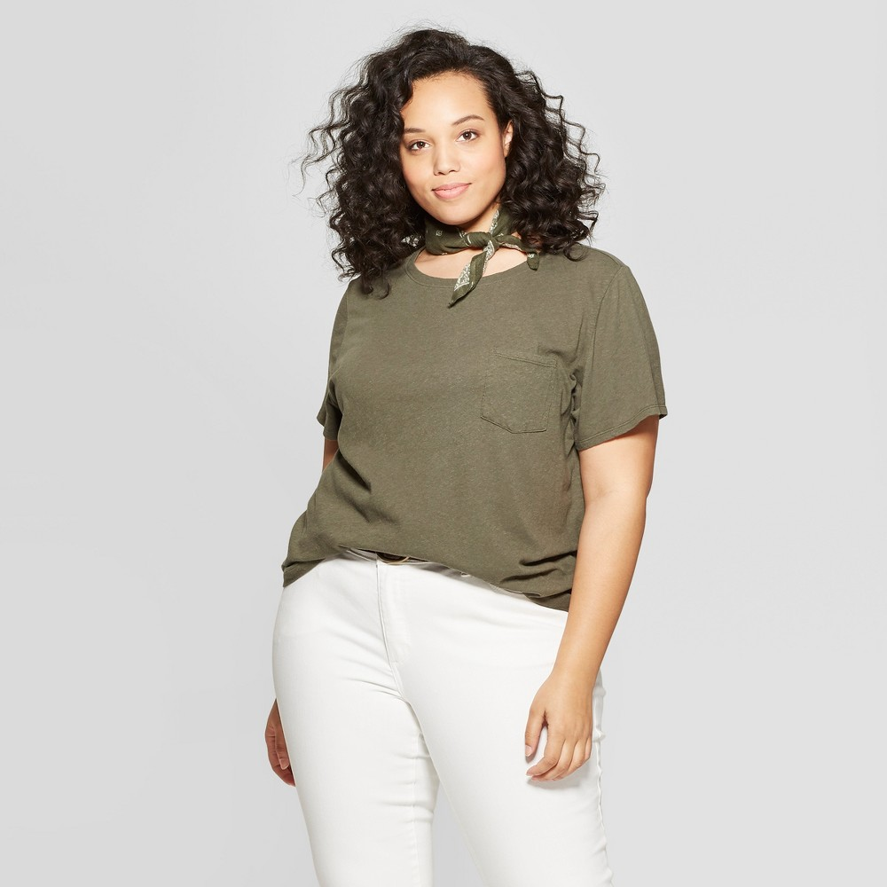 Women's Plus Size Short Sleeve Meriwether Crew Neck T-Shirt - Universal Thread Olive (Green) 2X