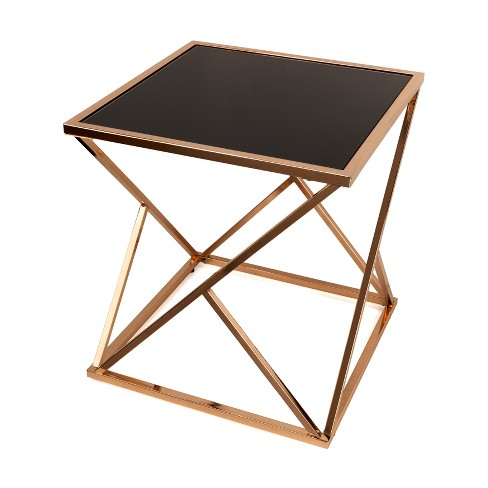 Danya B Square End Table With Glass Top Rose Goldblack Target
