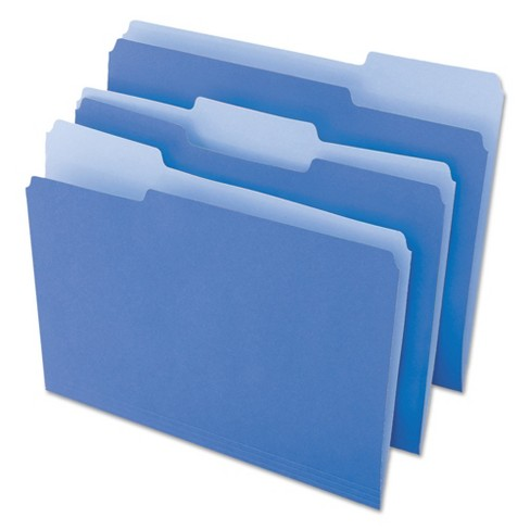 Universal® File Folders, 1/3 Cut One-Ply Top Tab, Letter, Blue/Light Blue, 100/Box - image 1 of 4