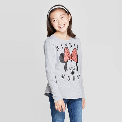 Girls' Minnie Mouse Face Long Sleeve T Shirt   Heather Gray by Shirt