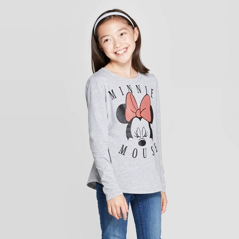 Girls' Minnie Mouse Face Long Sleeve T-Shirt - Heather Gray - image 1 of 3