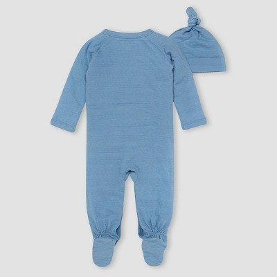 Burt's Bees Baby® Baby Boys' Dotted Jacquard/Striped Jumpsuit & Knot Top Hat Set - Sky Blue
