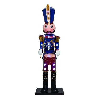 Transpac Metal 32 in. Multicolor Christmas Light Up Nutcracker with Drum Decor