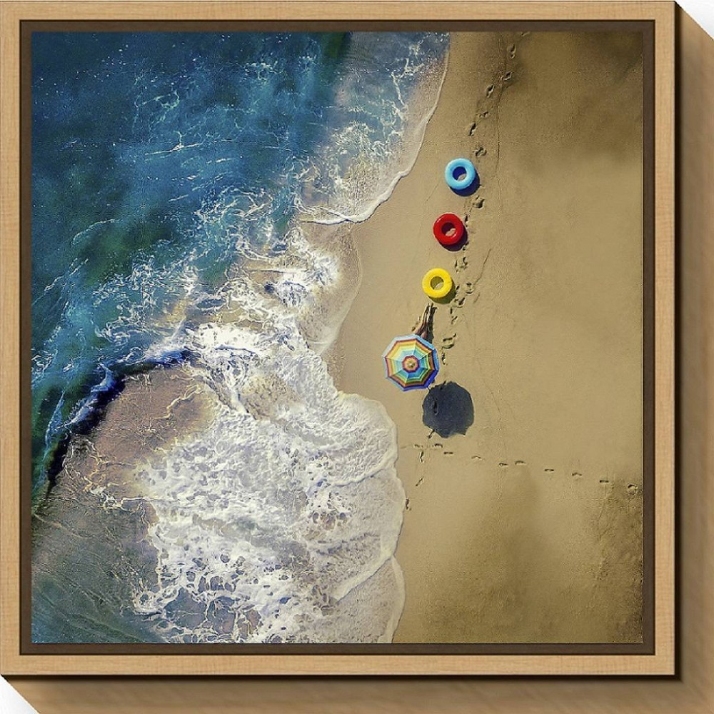 "Image of ""16"""" X 16"""" Hi Summer By Ambra Maple - Amanti Art, Yellow Blue Red"""