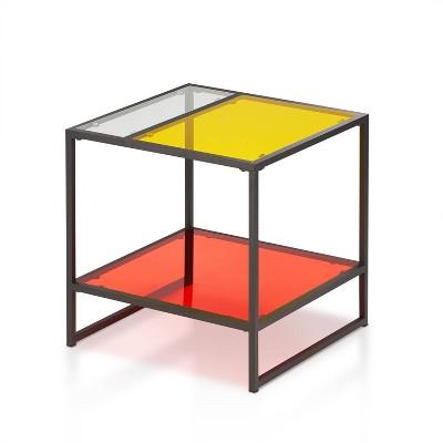 Denver End Table Glass/Metal Red - miBasics