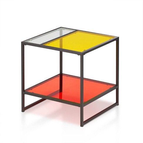 Denver End Table Glass/Metal Red - miBasics - image 1 of 4