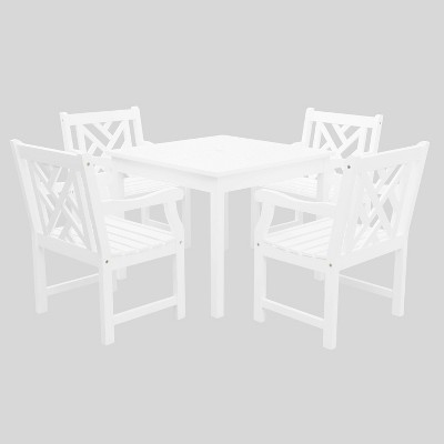 Bradley 5pc Wood Outdoor Patio Stacking Dining Set - White - Vifah