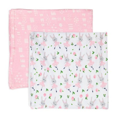 Honest Baby Organic Cotton Muslin Swaddling Blankets - Tutu Cute 2pk