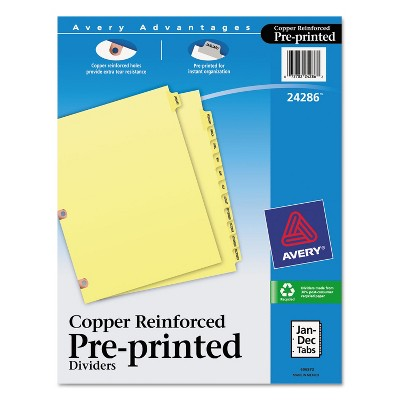 Avery Preprinted Laminated Tab Dividers w/Copper Reinforced Holes 12-Tab Letter 24286