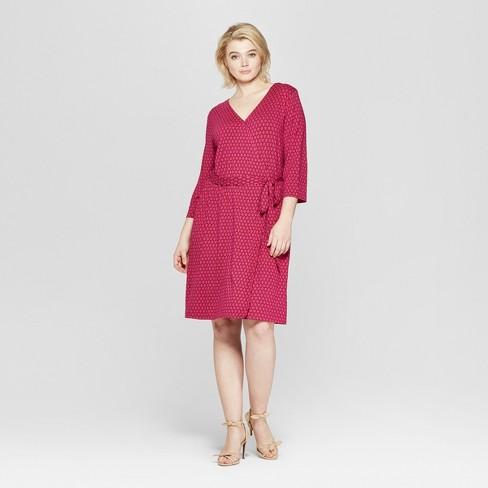 c2ea892108d3 Women's Plus Size Printed 3/4 Sleeve Wrap Midi Dress - Ava & Viv™ Rose :  Target