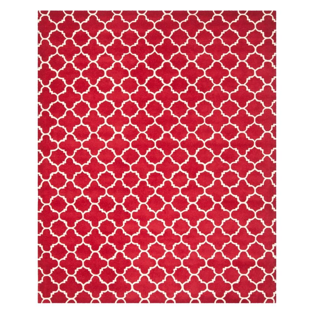 Quatrefoil Design Tufted Area Rug Red/Ivory