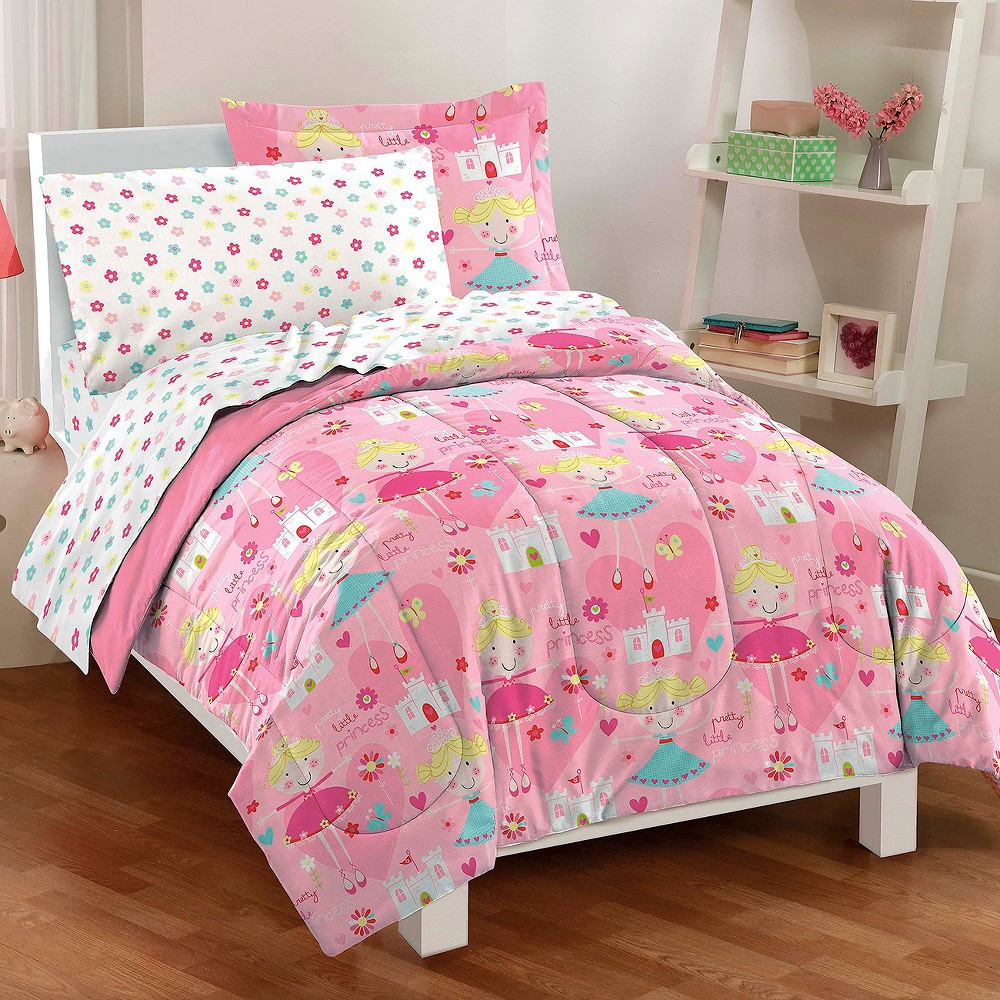 Image of Dream Factory Pretty Princess Mini Bed in a Bag - Pink (Full)