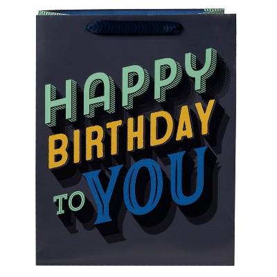 Medium 'Happy Birthday To You' Gift Bag Black/Gray - Spritz™