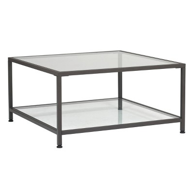 "30"" Camber Modern Square Coffee Table with Clear Glass Pewter - Studio Designs Home"