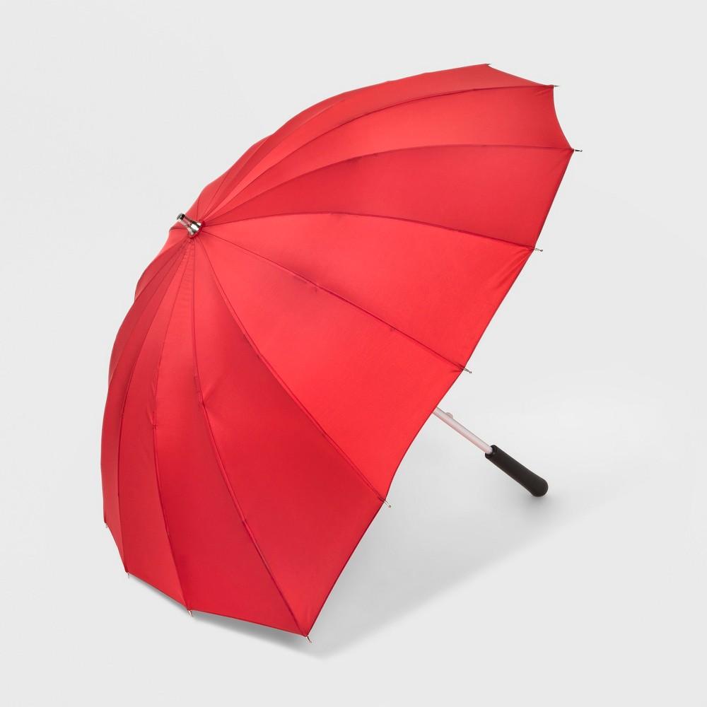 ShedRain Heart Shaped Stick Umbrella - Red