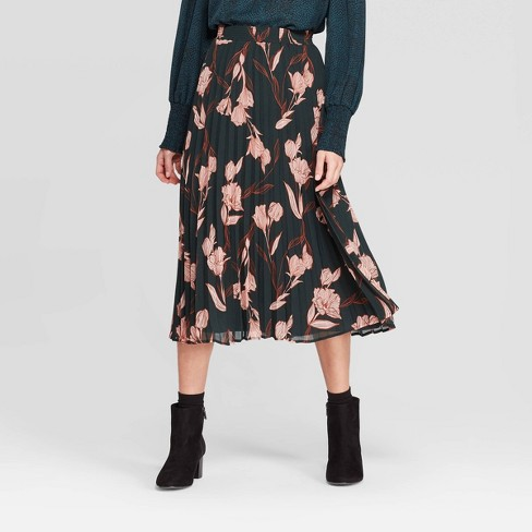 Women's Floral Print High-Rise Pleated Midi Skirt - A New Day™ Green - image 1 of 3