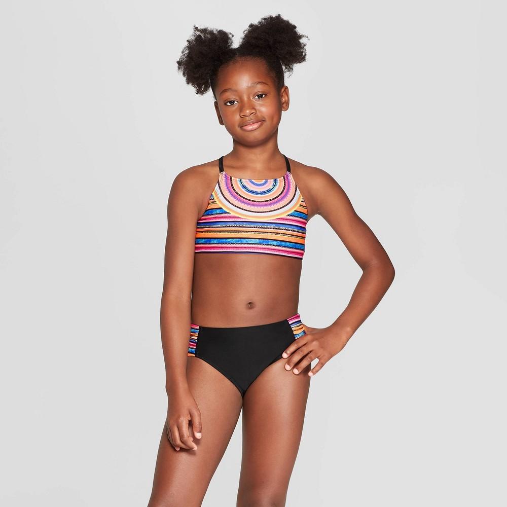 Girls' 2pc Sunkissed Bikini Set - art class Black XL, Multicolored