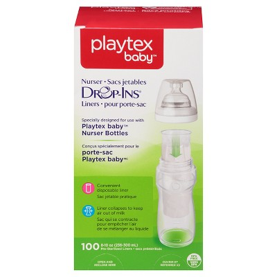 Playtex Baby Drop-Ins Liners For Playtex Baby Nurser Bottles 8-10oz - 100ct
