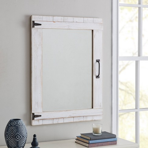 Farmhouse Cottage Door Mirror, Distressed White Wood Farmhouse Door Wall Mirror