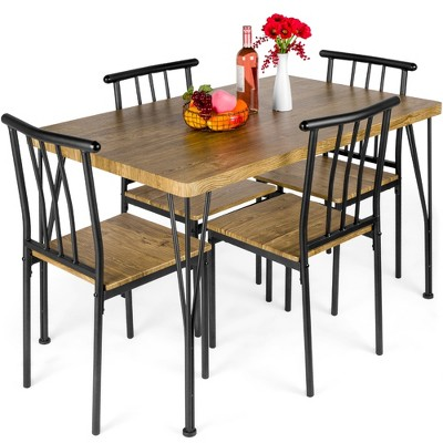 Best Choice Products 5-Piece Indoor Modern Metal Wood Rectangular Dining Table Furniture Set w/ 4 Chairs