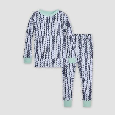 Burt's Bees Baby® Toddler Watercolor Chevron Organic Cotton Pajama Set - Indigo 3T