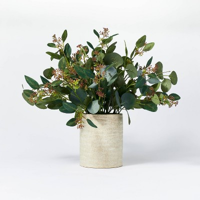 "20"" x 18"" Seeded Eucalyptus and Pod Plant Arrangement in Ceramic Vase - Threshold™ designed with Studio McGee"