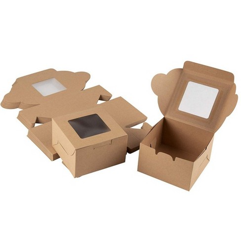 Juvale 25-Pack Bakery Pastry Box with Clear Display Window, Donut, Mini Cake, Kraft - image 1 of 4