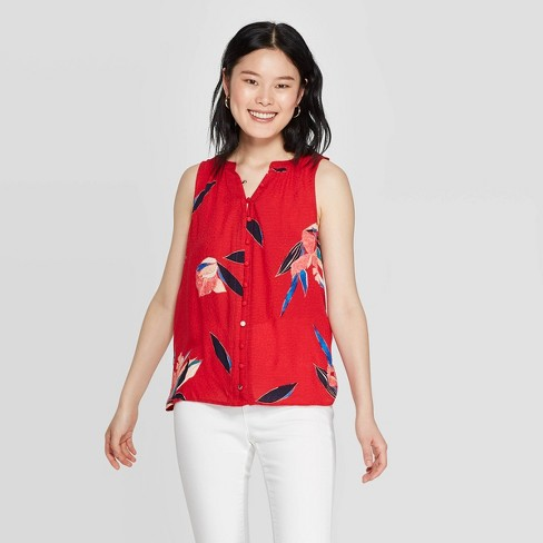 Women's Floral Print Sleeveless Collared Button-Down Blouse - A New Day™ Red - image 1 of 3