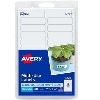"""Avery Laser/Inkjet Multipurpose Labels 1/2"""" x 1 3/4"""" White 20/Sheet 689458"""