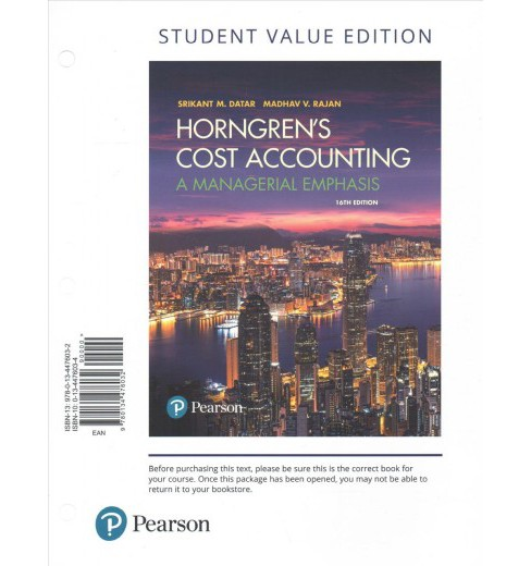 Horngren's Cost Accounting + MyAccountinglab With Pearson Etext : A Managerial Emphasis: Student Value - image 1 of 1