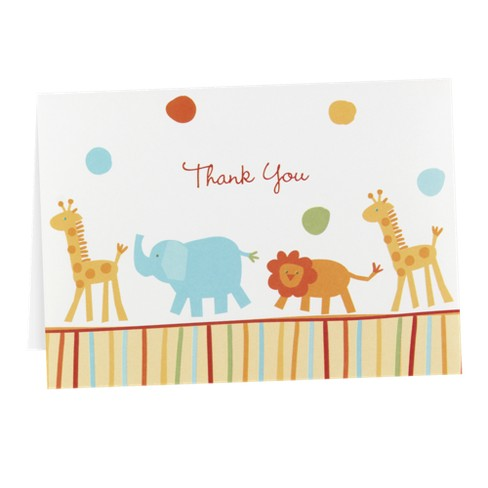 25ct Jungle Baby Animal Baby Shower Blank Thank You Cards - image 1 of 1