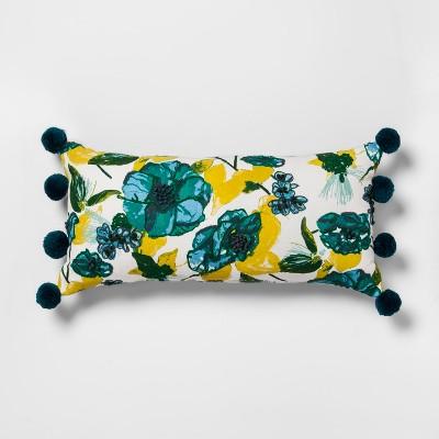 Teal Floral Lumbar Throw Pillow - Opalhouse™