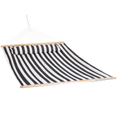Quilted Double Fabric Hammock - Black/White Stripe - Sunnydaze Decor