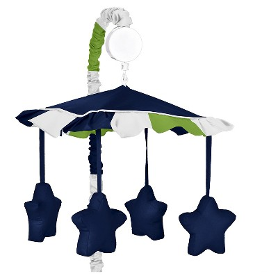 Sweet Jojo Designs Navy Blue & Lime Green Stripe Musical Mobile - Navy