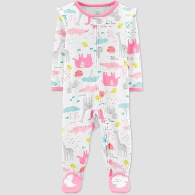 Baby Girls' Safari Sleep 'N Play One Piece Pajama - Just One You® made by carter's White/Pink 3M