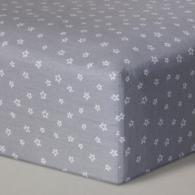 Fitted Crib Sheet Stars - Cloud Island™ Gray