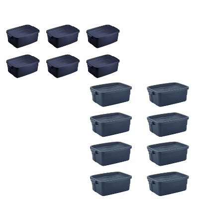 Rubbermaid Storage Bundle with 3 Gallon Stackable Plastic Storage Containers (6 Pack) and 10 Gallon Stackable Storage Totes, (8 Pack) Dark Indigo