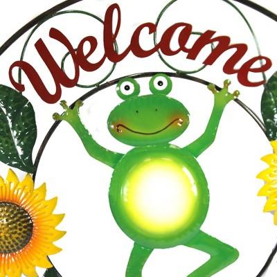 "Home & Garden 28.0"" Dancing Frog Plaque Welcome Sunflowers Direct Designs International  -  Decorative Wall Sculptures"