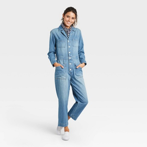 Women's Long Sleeve Collared Boilersuit - Universal Thread™ - image 1 of 3