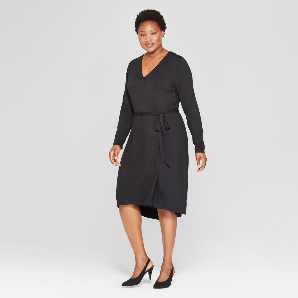 Women's Plus Size Wrap Dress - Ava & Viv Black 1X