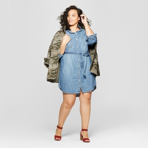Women\'s Plus Size Long Sleeve Sleeve Collared Denim Shirtdress ...