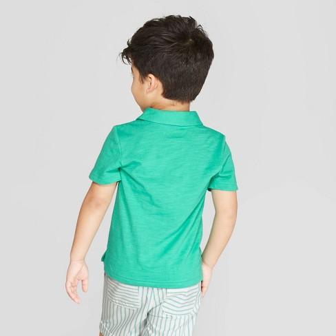 5c8e5aa3 Toddler Boys' Short Sleeve Slub Jersey Polo Shirt - Cat & Jack™ Tropic Green